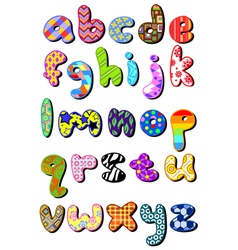 Patterned lower case alphabet vector