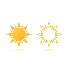 Set of two simple abstract sun icons vector