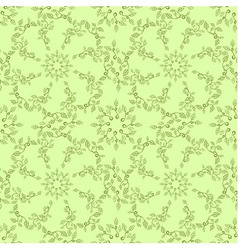 Seamless leaves pattern on green background vector