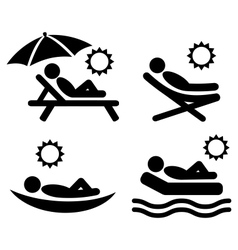Summer relax sunbathing pictograms flat people vector
