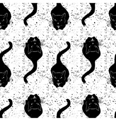 Vintage black cats pattern  hand drawn vector