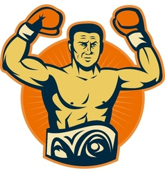 Champion boxer with championship belt vector