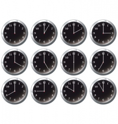 Office clock black all times vector