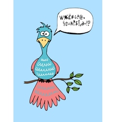 Cute cartoon bird with a speech bubble vector