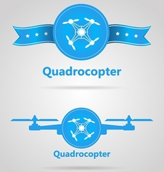 Two blue signs of quadrocopter top view vector