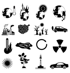 Environment pollution icons set vector