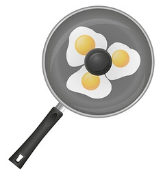 Fried eggs in a frying pan 02 vector