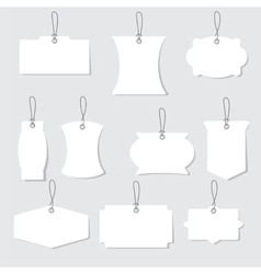 White blank labels or tags with ropes vector