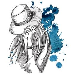 Girl in hat looking down vector