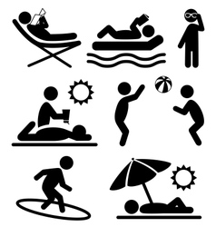 Summer pictograms flat people icons isolated on vector