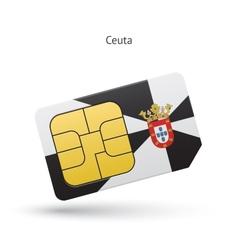 Ceuta mobile phone sim card with flag vector