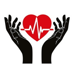 Hand with heart and cardiogram symbol vector
