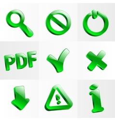 Set glass icons button stop optical vector