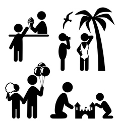 Summertime pictograms flat people icons isolated vector