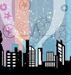 City celebrations with retro background vector
