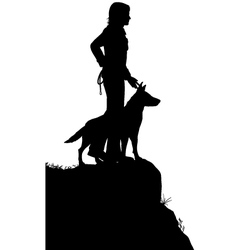 Man and dog vector