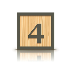 Number 4 wooden alphabet block vector
