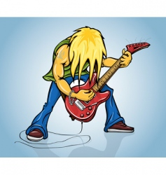 Rock guitarist playing electric guitar vector