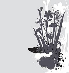 Flowers and ink drips monotone vector