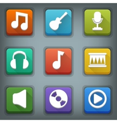 Flat icon set white symbols music vector