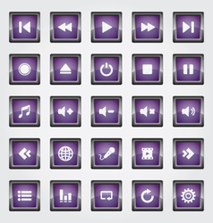 Media button purple vector
