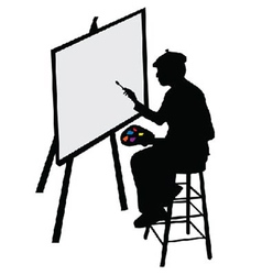 Artist with easel vector