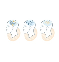 Silhouette of head brain and pulses vector