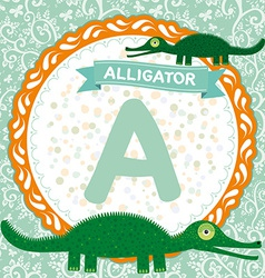Abc animals a is alligator childrens english vector