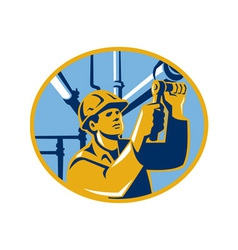 Pipefitter maintenance gas worker plumber vector