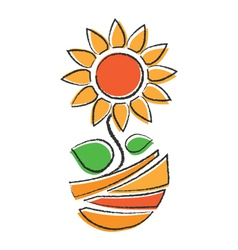 Orange sunflower vector