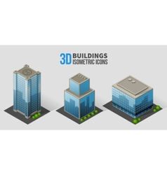 Skyscrapers with trees isometric buildings of vector