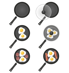Fried eggs in a frying pan 05 vector