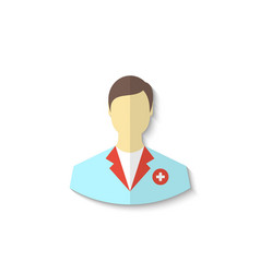 Flat icon of medical doctor with shadow isolated vector