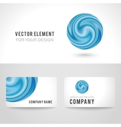 Business card template set abstract blue circle vector