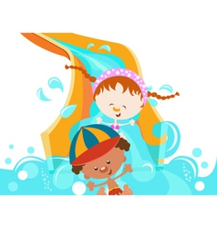 Kids on water slide vector