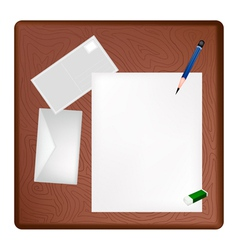 A pencil lying on a blank page and envelope vector