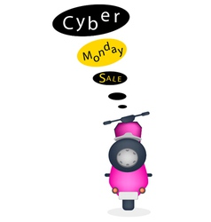 A motorbike with cyber monday sale banner vector