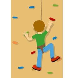 Rock climber boy vector