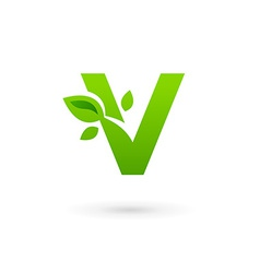 Letter v eco leaves logo icon design template vector