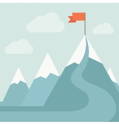 Mountain with red flag vector