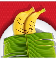 Funny sleeping bananas on a plate vector