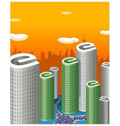 Skyscrapers e sign vector