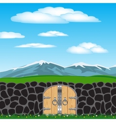 Stone fence and nature vector