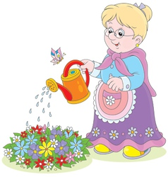Granny watering flowers vector