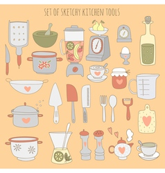 Colorful set of kitchen tools vector