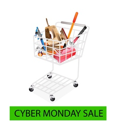 Auto repair tool kits cyber monday shopping cart vector