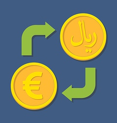 Currency exchange euro and rial vector