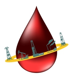 Drop of oil and the silhouettes of oil industry vector