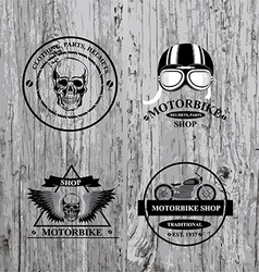 Set of labels motorbike shop vector