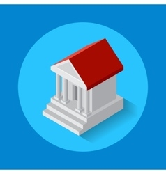 Icon of bank building flat isometric style vector
